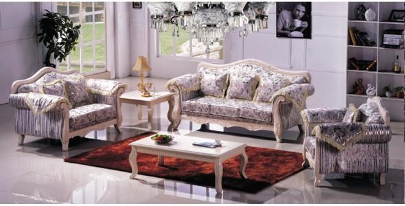 实木 欧式田园沙发 F8001
