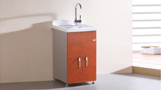 TB-5805 不锈钢落地式浴室柜组合陶瓷盆阳台洗衣盆洗衣柜 460mm
