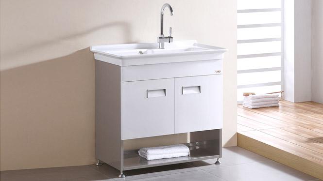 TB-5802 不锈钢阳台洗衣机柜洗衣柜 带搓板专利台盆 浴室柜组合 820mm