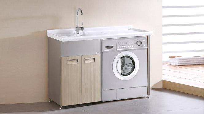 TB-5801 不锈钢阳台洗衣机柜洗衣柜 带搓板专利台盆 浴室柜组合 1200mm