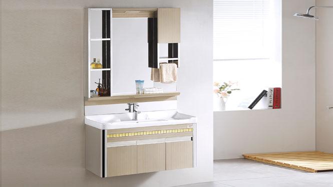 TB-8007 不锈钢浴室柜组合挂墙式洗脸洗手盆柜卫浴柜 1010mm