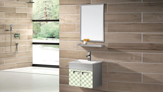 304不锈钢浴室柜台中洗脸洗手盆挂墙式卫浴柜组合T-9562  500mm