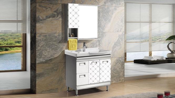 不锈钢洗衣柜洗漱台盆卫浴柜洗脸盆柜组合浴柜落地式卫生间镜柜T-9563  800mm