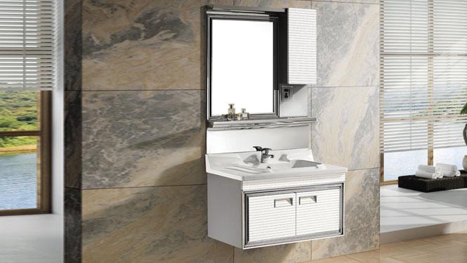 不锈钢浴室柜 挂墙式卫浴家具 一体陶瓷盆洗脸盆柜组合T-9565  800mm