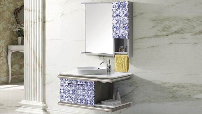不锈钢浴室柜组合挂墙式洗脸洗手盆柜卫浴柜T-9482  900mm800mm