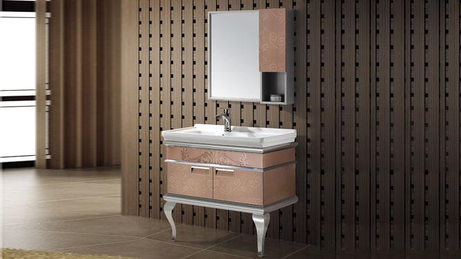 不锈钢浴室柜 落地柜组合整体卫浴柜 洗脸盆柜一体盆T-9479  900mm
