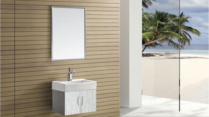 挂墙式台上盆小不锈钢浴室柜卫浴柜组合T-9439  480mm