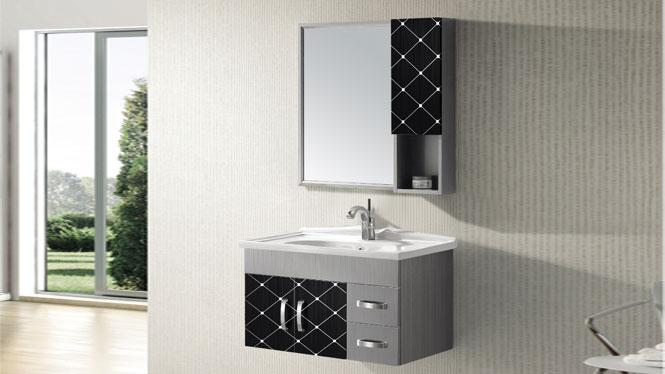 不锈钢浴室柜组合 挂墙式收纳储物T-9456B  800mm