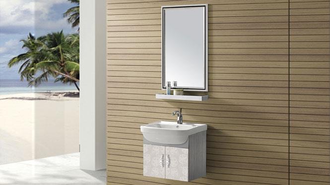 不锈钢浴室柜组合挂墙式洗脸洗手盆柜卫浴柜T-9445B  600mm