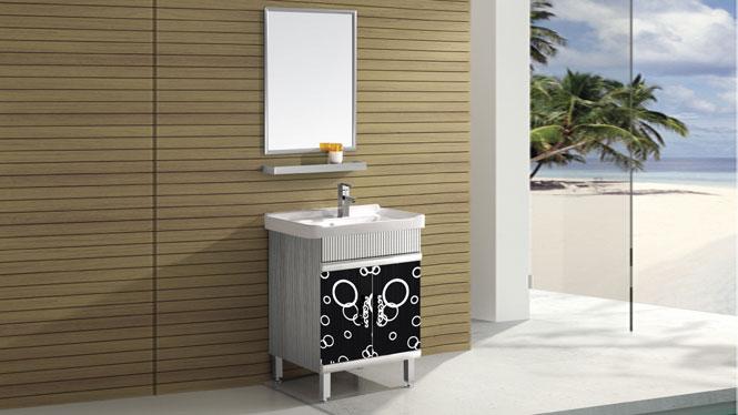 不锈钢浴室柜组合 落地 卫浴柜立柜 洗手洗脸盆柜 全套组合T-9442B 800mm600mm