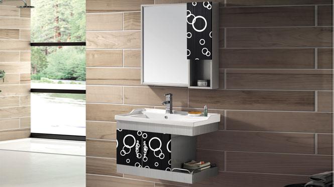不锈钢浴室柜组合挂墙式洗脸洗手盆柜竞博亚洲大师赛dota2柜T-9435B  800mm