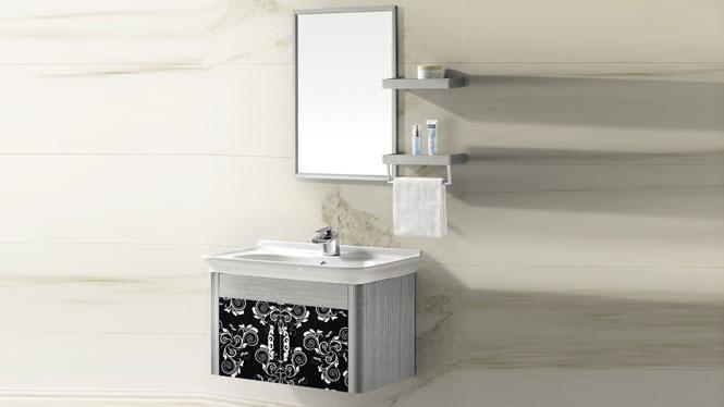 挂墙式不锈钢浴室柜组合 洗手盆柜组合T-9433  800mm600mm