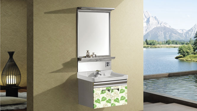 304不锈钢浴室柜组合 小户型卫生间洗脸盆 挂墙式卫浴柜组合T-9575  600mm