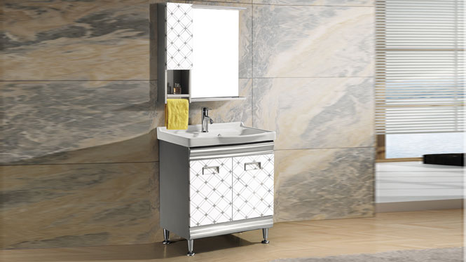 不锈钢洗衣柜 挂墙式吊柜组合 洗漱台 洗脸盆卫浴柜T-9577  700mm
