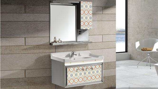 304不锈钢浴室柜挂墙式洗脸盆现代卫浴柜组合T-9581  800mm