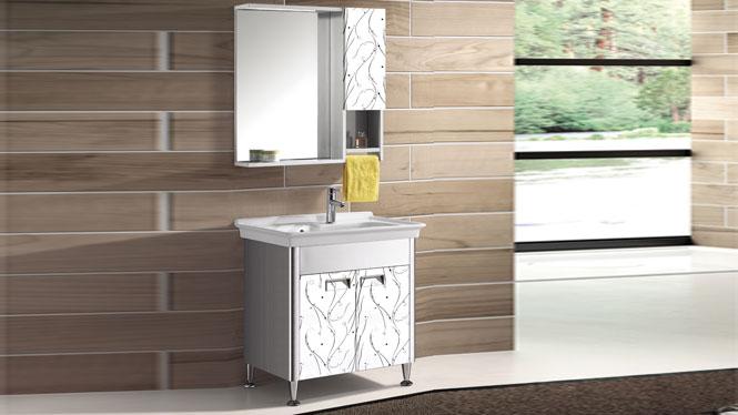 不锈钢洗衣柜 落地柜组合卫浴柜洗手盆洗脸盆柜一体盆台上T-9584  800mm