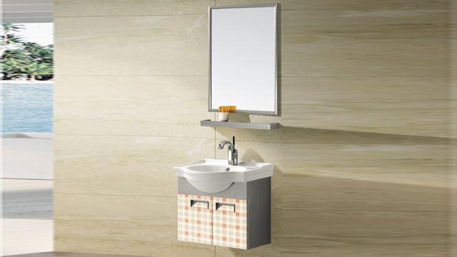 不锈钢浴室柜 挂墙梳洗柜 柜盆洗脸盆洗衣盆组合T-9585  600mm