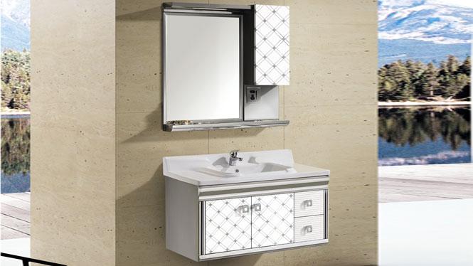 不锈钢浴室柜 挂墙式 洗脸盆 陶瓷盘镜组合T-9586 1000mm