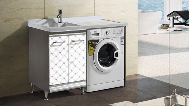 不锈钢洗衣柜 简约现代落地浴室柜 洗手盆柜组合T-9593  1200mm