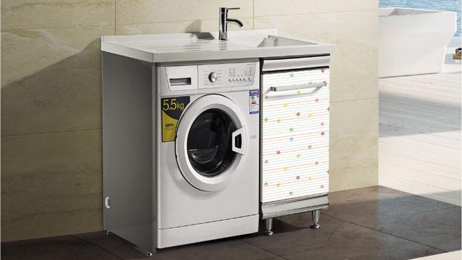 不锈钢洗衣柜带搓板落地洗衣机柜阳台浴室柜组合T-9594  1100mm