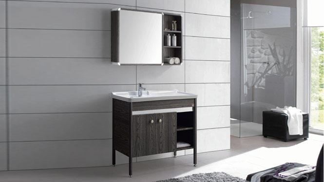 洗手洗衣柜 现代简约浴室柜组合卫浴柜 太空铝落地浴室柜GD-9632B  910mm