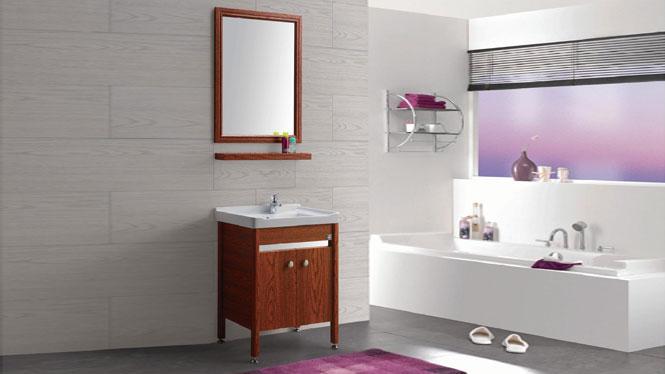 太空铝浴室柜组合 铝型材落地柜 卫生间陶瓷面盆GD-9610B  615mm