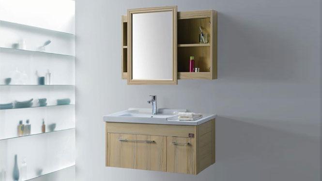 太空铝浴室柜简约卫浴柜洗脸盆柜组合挂墙式铝合金浴室柜GD-9607B  900mm