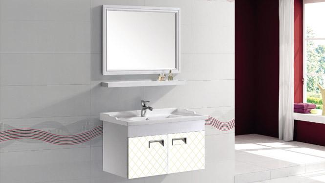 太空铝浴室柜简约卫浴柜洗脸盆柜组合挂墙式铝合金浴室柜T-9703   600mm700mm800mm