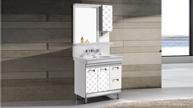 现代钛镁铝浴室柜组合 太空铝合金卫浴柜 落地洗手盆洗脸盆T-9704 800mm
