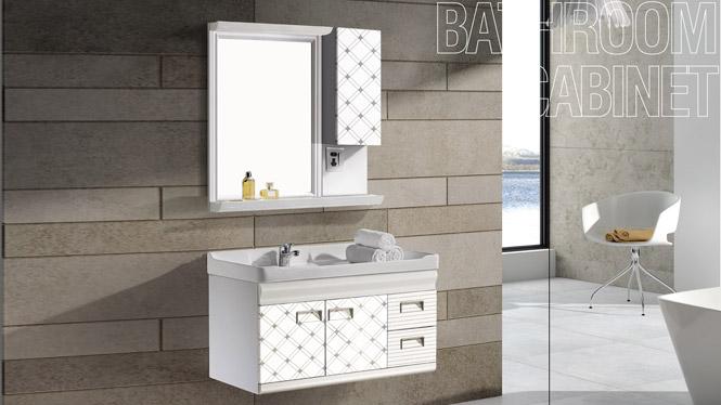 太空铝浴室柜 挂墙浴室柜 陶瓷盆 洗手盆 一体盆T-9706  900mm