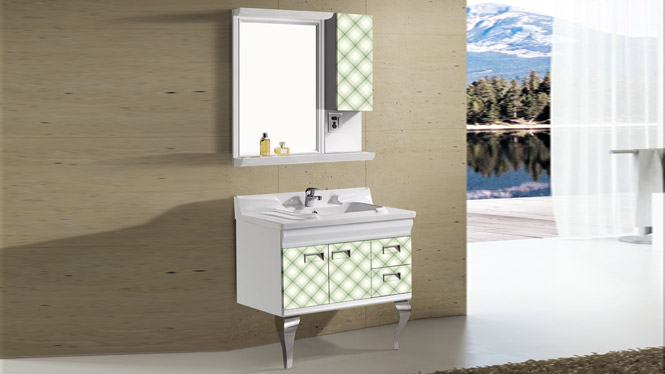 太空铝落地柜浴室柜组合 一体陶瓷盆洗手盆面盆柜带镜柜T-9727  800mm