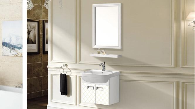 太空铝浴室柜 简约卫浴柜 洗脸盆柜组合 挂墙式铝合金浴室柜T-9729  600mm