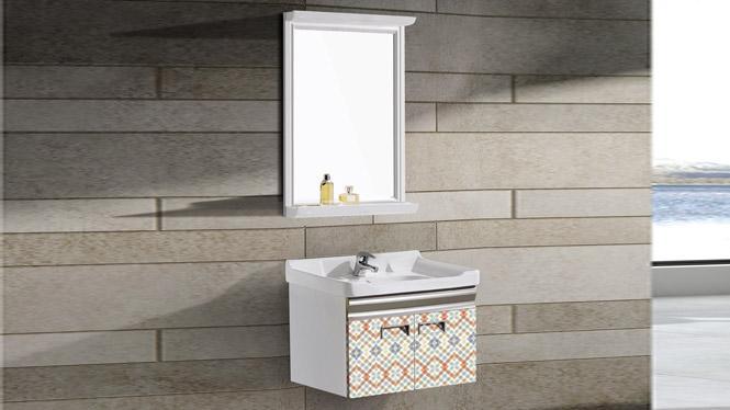 太空铝浴室柜 浴室柜 挂墙柜 陶瓷盆 面盆 洗手盆 洗脸盆T-9732  600mm