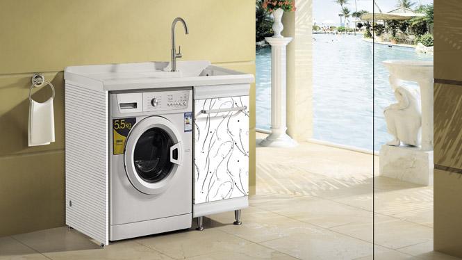 太空铝洗衣柜 烤漆板洗衣机柜石英石斜搓衣板 浴室柜组合T-9736  1100mm