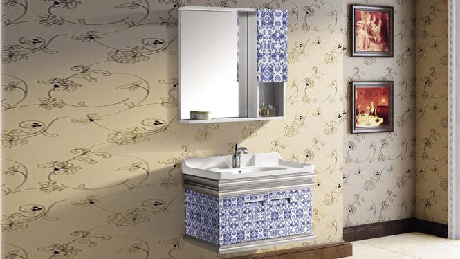 优质钛镁铝浴室柜组合 挂墙式太空铝合金卫浴柜 洗手盆洗脸台盆柜T-9749  800mm