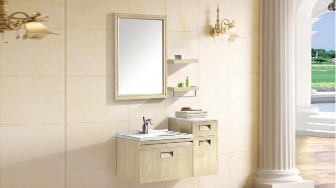太空铝浴室柜 简约卫浴柜 洗脸盆柜组合 挂墙式铝合金浴室柜T-9755  900mm