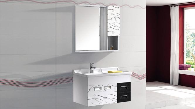 太空铝浴室柜组合挂墙式卫浴柜洗手台洗手盆柜组合镜柜T-9758 800mm