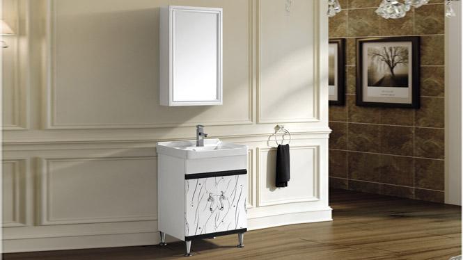 太空铝洗衣柜落地 一体陶瓷面盆 卫浴柜洗手盆洗脸台T-9771  600mm