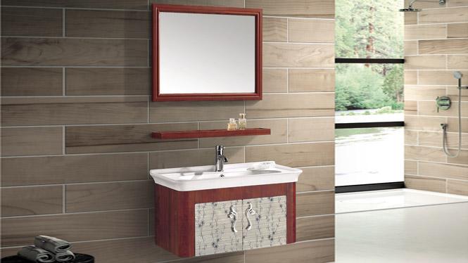 太空铝挂墙式浴室柜组合洗脸盆龙头一体陶瓷盆T-9783  800mm600mm