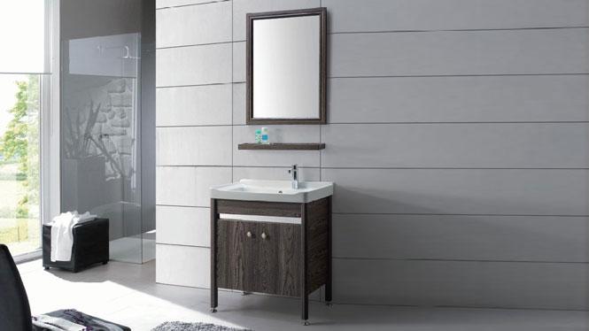 小型落地浴室柜 陶瓷洗面盆柜 太空铝卫浴柜 洗手盆洗脸盆柜组合GD-9611  715mm