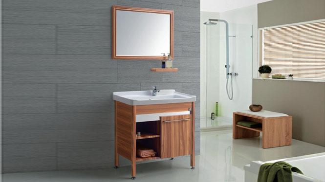 太空铝洗衣柜落地 洗衣池 卫浴柜洗手盆洗脸台GD-9612  715mm
