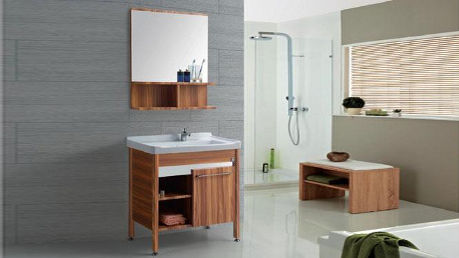 太空铝洗衣柜落地 一体陶瓷面盆 卫浴柜洗手盆洗脸台GD-9612B  715mm