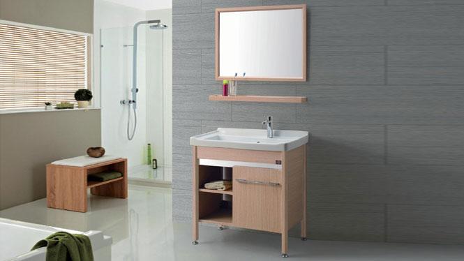 太空铝铝合金洗衣柜组合 卫生间落地柜 一体陶瓷盆GD-9612D  715mm
