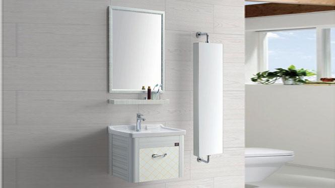 太空铝浴室柜简约卫浴柜洗脸盆柜组合挂墙式铝合金浴室柜GD-9613B  610mm