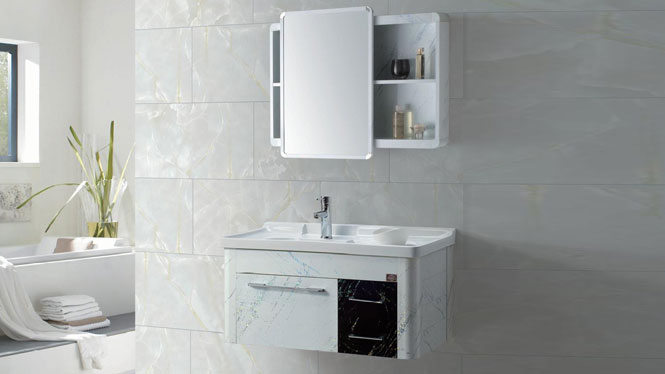 洗衣柜组合 挂墙式太空铝防潮洗脸盆柜卫生间洗手盆柜组合GD-9616B  910mm