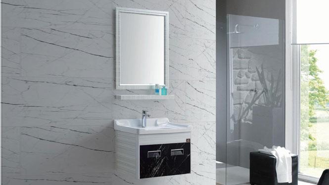 浴室柜组合小型太空铝合金卫浴柜 挂墙洗手洗面洗脸盆GD-9617B  610mm