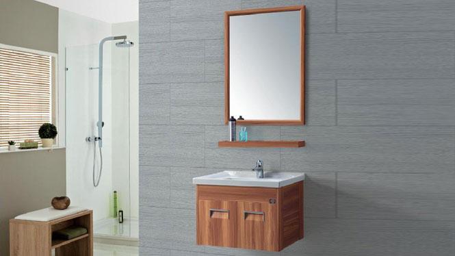 洗脸盆柜组合挂墙式 太空铝浴室柜 浴室柜 挂墙柜 陶瓷面盆GD-9619  610mm