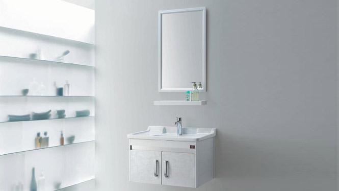 浴室柜整体小型太空铝浴室柜挂墙式陶瓷洗手盆GD-9620 730mm