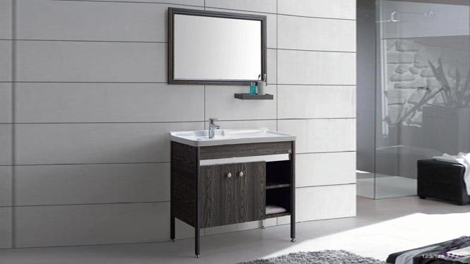 太空铝洗衣柜柜组合 卫浴柜洗脸盆洗手盆柜 带镜柜落地柜GD-9632  910mm