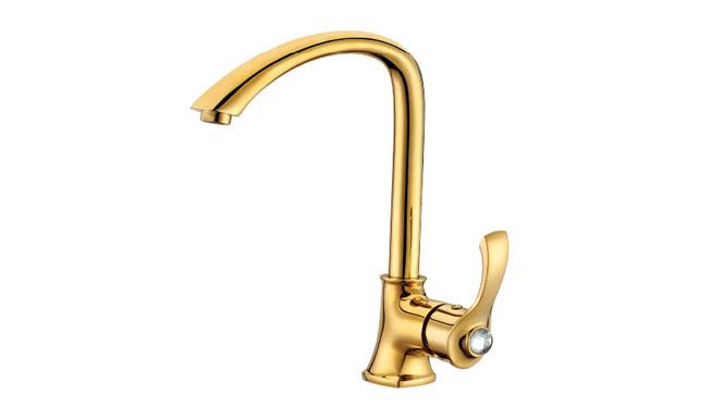 金色厨房龙头全铜 欧式冷热水混合阀水龙头 DP31003A